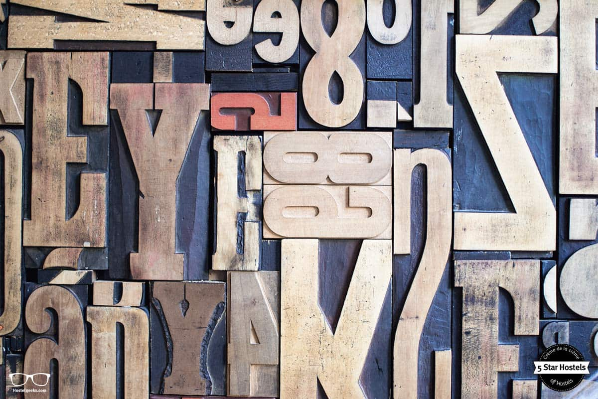 The printing letters at the Backstay Bar