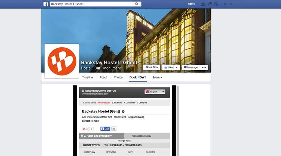 Hostel Booking on Facebook? Backstay Hostel Ghent offers this option!