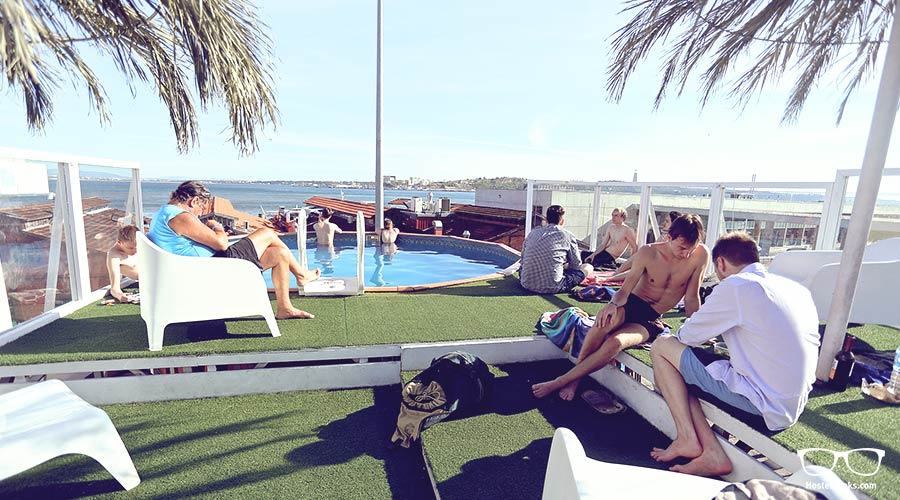 Swimming Pool Hostel. The Sunset Destination Hostel in Lisbon has its own swimming pool on a roof top terrace