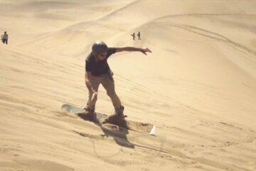 Sandboarding with 65k through Namibias Dunes