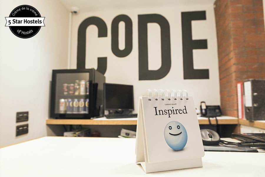 Feeling inspired! The reception desk and mood of the day at CODE Hostel