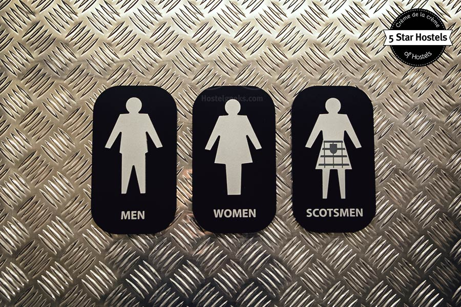 So, where do you go? This is the bathroom sign at CODE Hostel