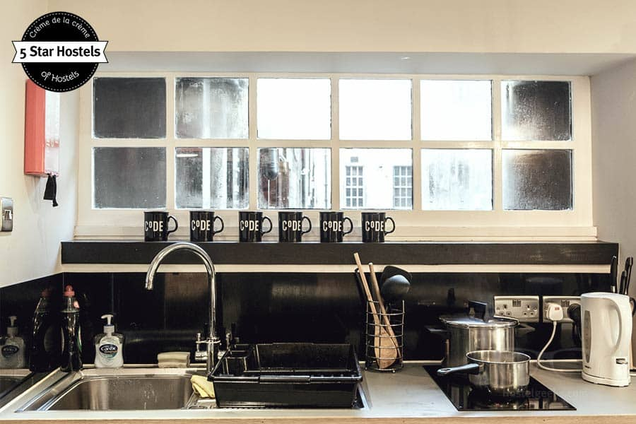 Clean your coffee mugs! The kitchen at CODE Hostel Edinburgh