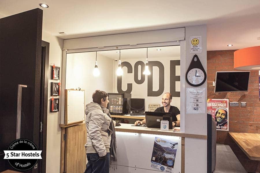 Reception desk at CODE Hostel
