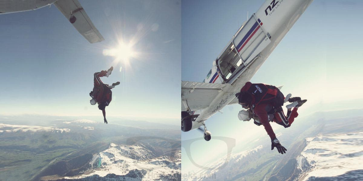 Skydiving 15,000 feet over Queenstown, New Zealand