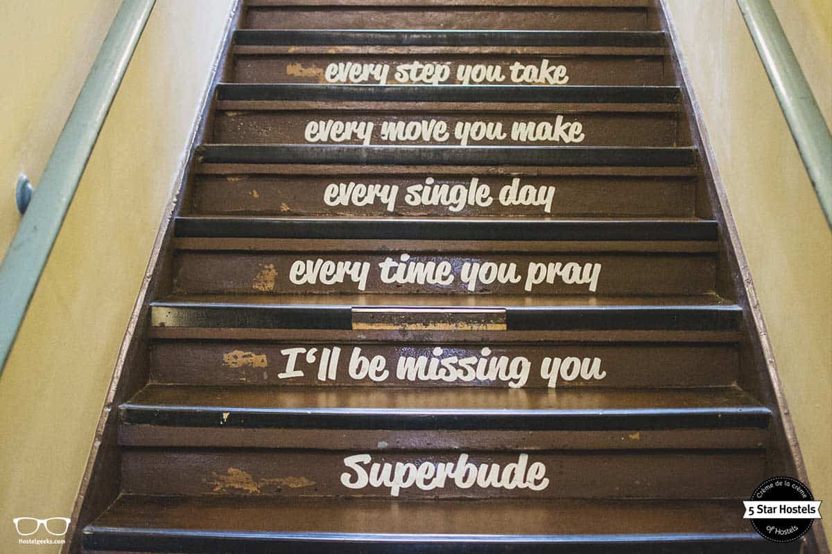 Poetry and song lyrics at the stairs of Superbude Hamburg