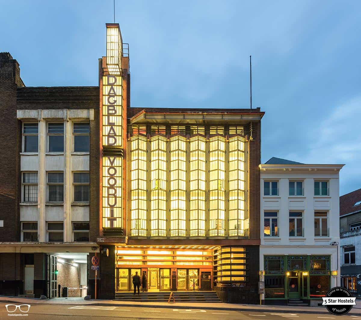 The impressive building of Backstay Hostel in Ghent
