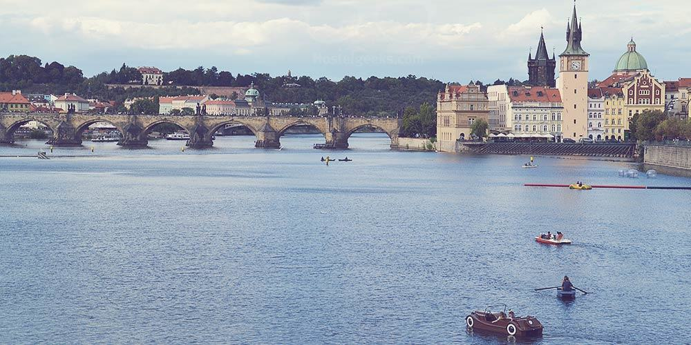 View to the Charles Bridge and the entrance to Old Town Prague