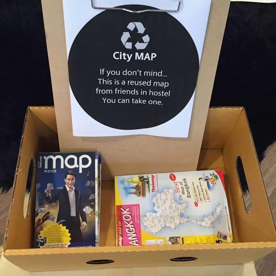 ReUsing City Maps, a smart idea by Yim Huai Khwang Hostel