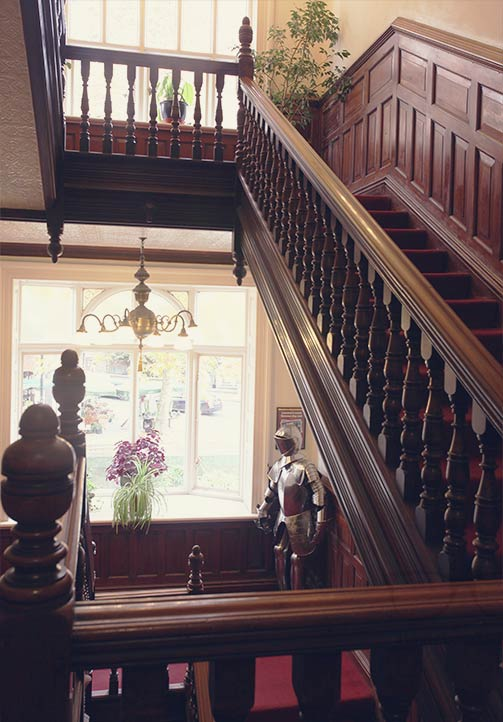 Greetings from the knight! The staircase at Palmers Lodge Swiss Cottage London