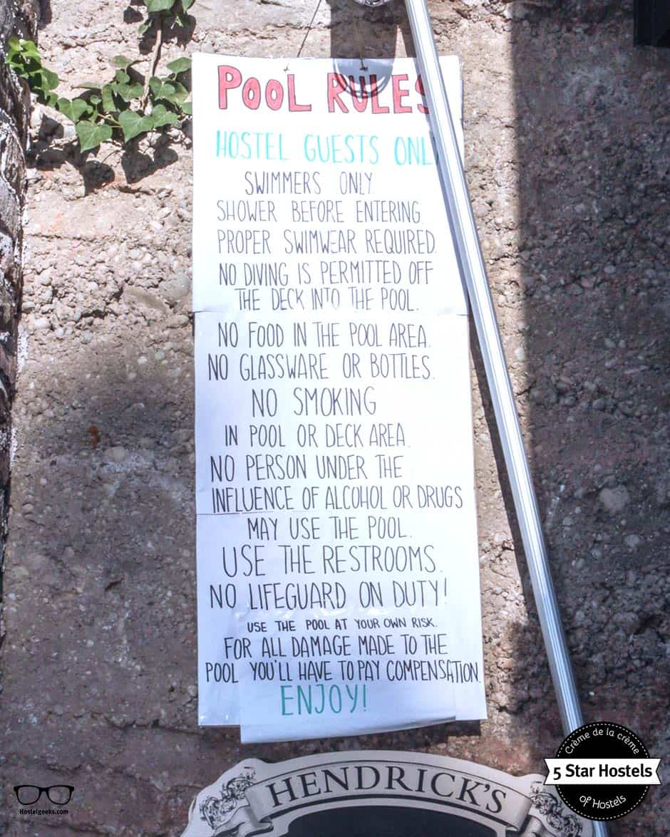The Hostel Pool Rules