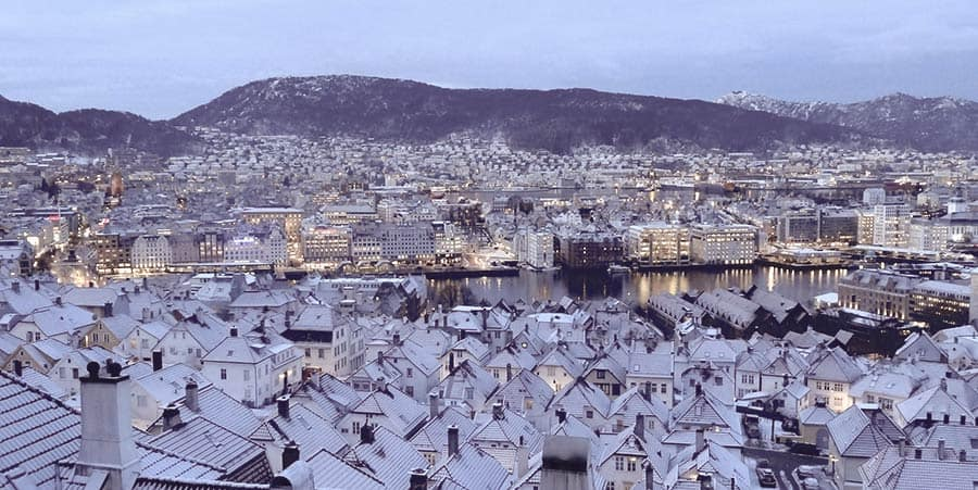 European Winter Destination: Bergen in Norway and its beautiful panoramic view during winter!