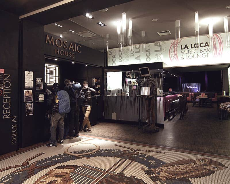 Check In! This is the reception area of Mosaic House and the entrance to La Loca