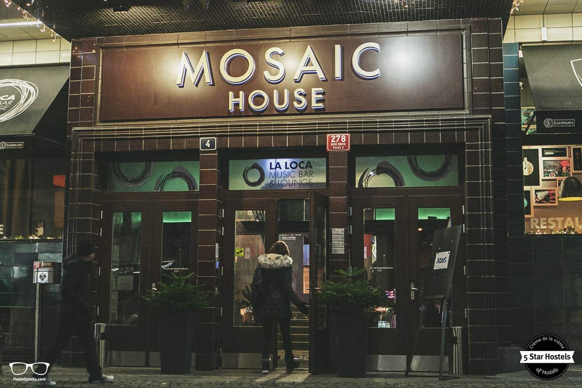 The entrance to a great hostel experience: Mosaic Hostel