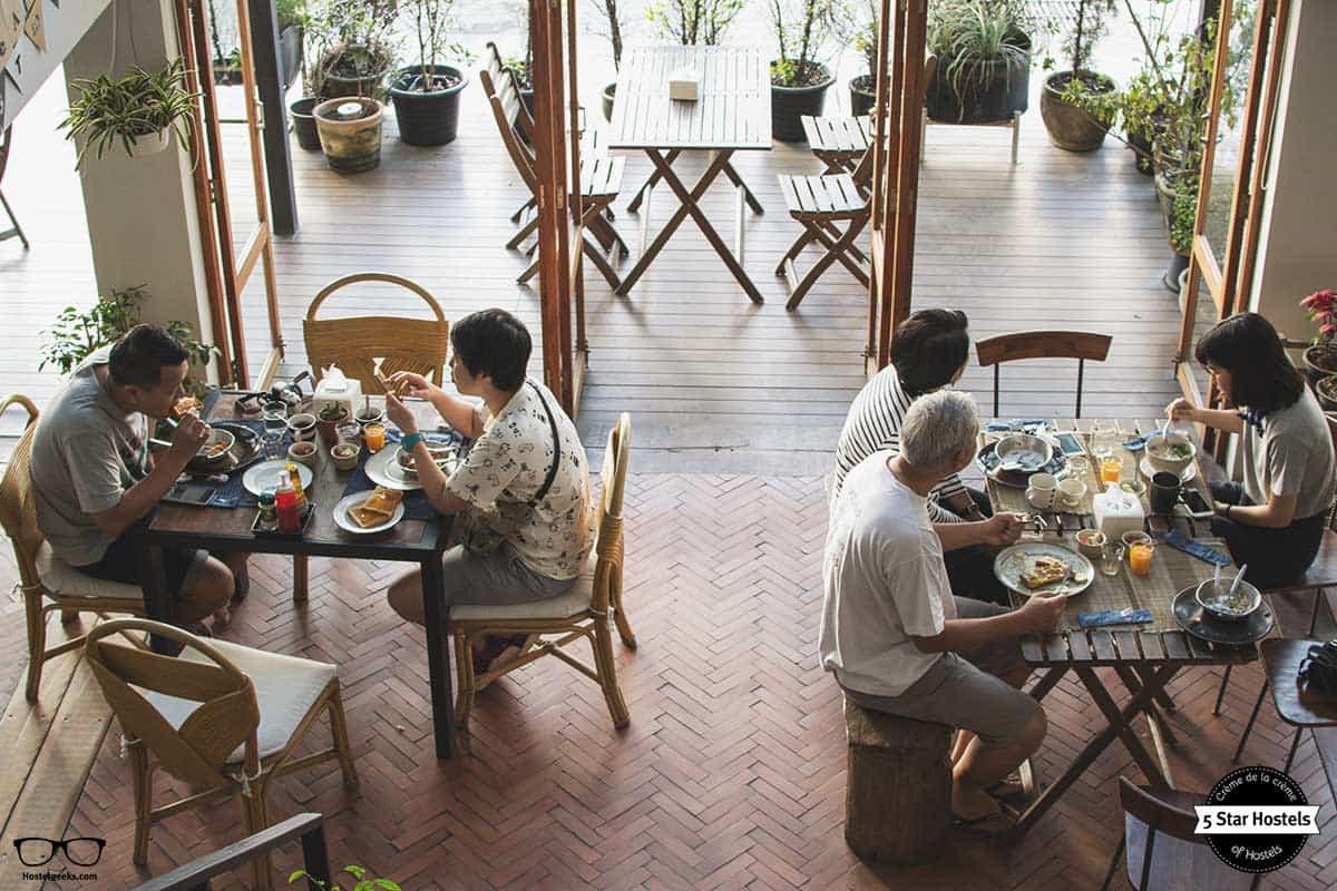 Enjoying breakfast at Happynest Chiang Rai