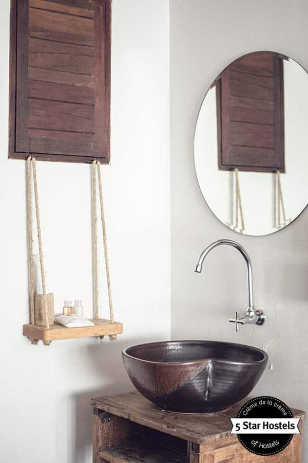 Bathroom details at Happynest Hostel