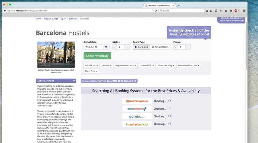 Old screenshot: HostelZ - Comparing Prices for hostels