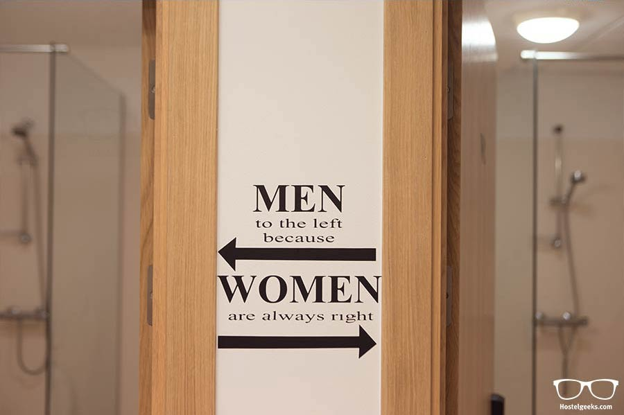 """Men to the left, because women are always right"" - this and more fun quotes at Bus Hostel!"