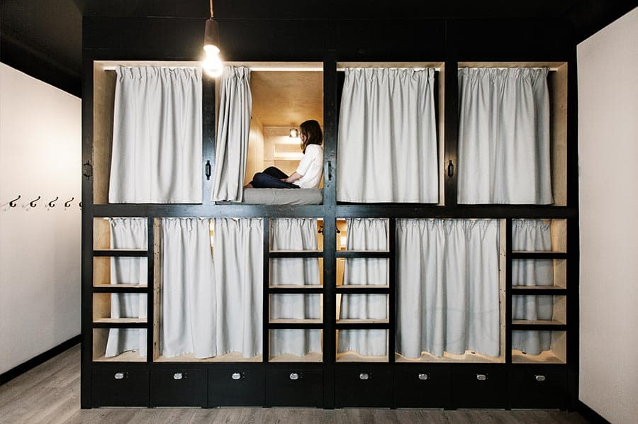Stylish bunk beds at Sputnik Hostel Moscow