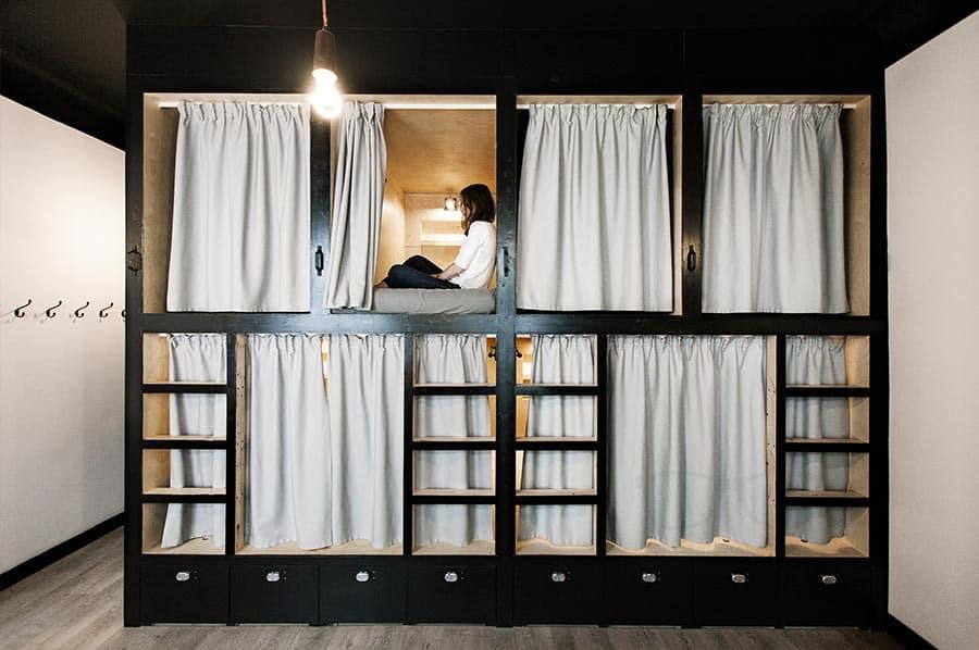 Stylish bunk beds at Sputnik Hostel Moscow
