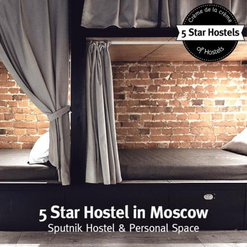 The stylish bunk beds of Sputnik Hostel Moscow