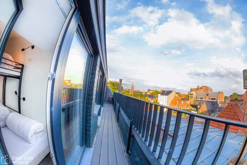 The dorms come with a balcony overlooking the city: Cube Hostel in Leuven