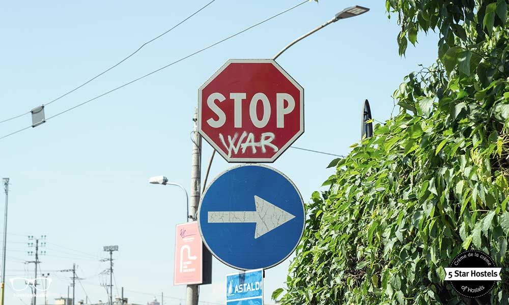 STOP WAR....this street art sign is at the entrance of WE Bologna
