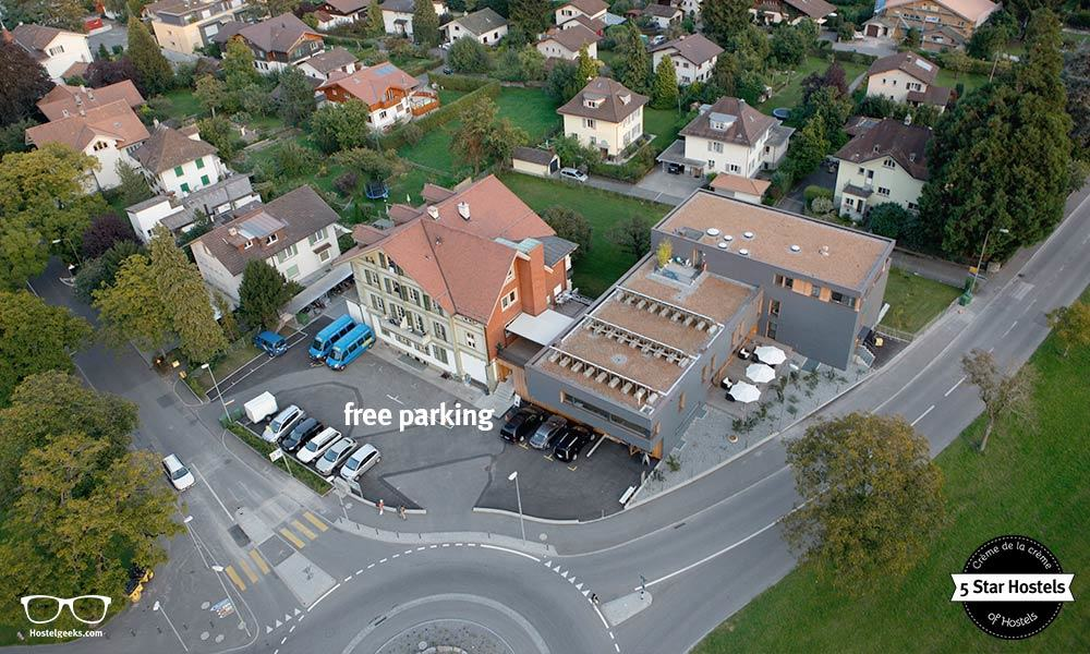 free parking right in front of Backpackers Villa Sonnenhof