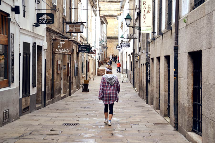 A pilgrim in Santiago de Compostela