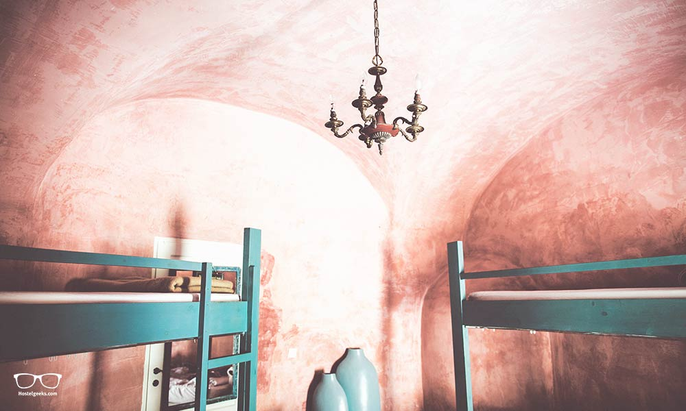 The dorm at Caveland Hostel Santorini