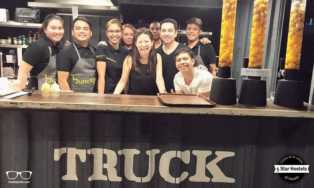 The famous food truck and the team at Makati Junction Hostel