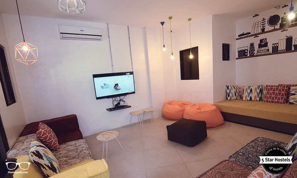 The cosy TV room at Makati Junction Hostel