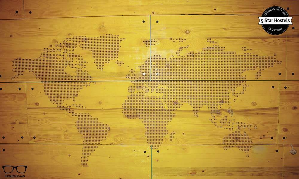 World Map on the Wall at Superbude St Pauli