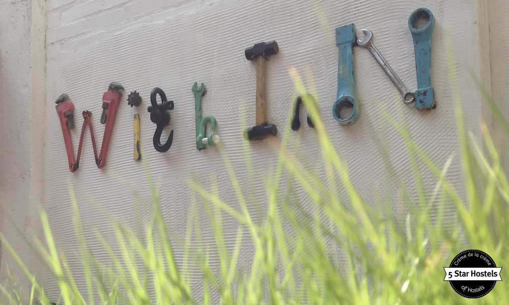 With Inn letters, made with old tools