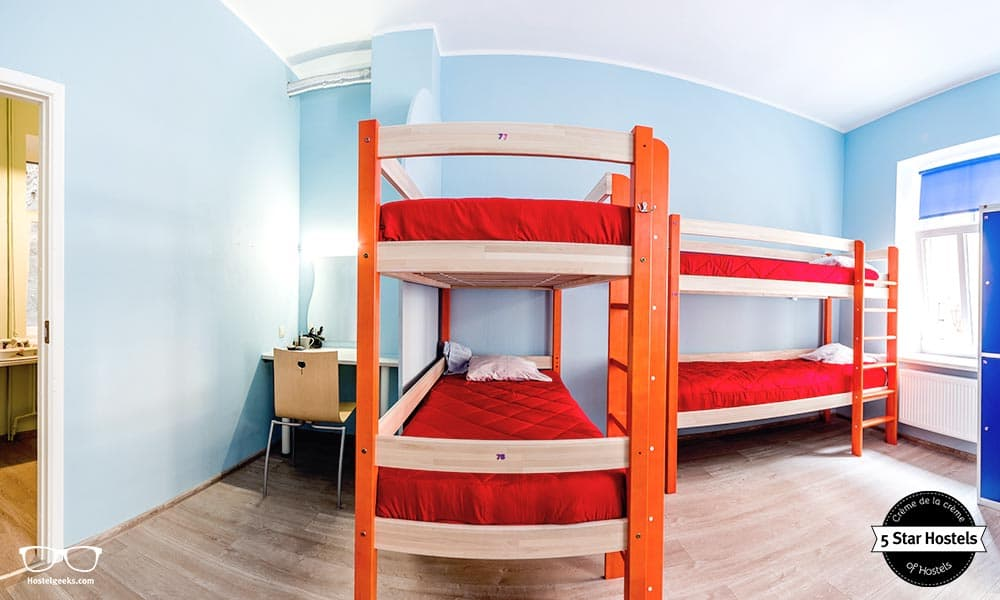 The wooden bunk beds at Seagulls Garret Hostel