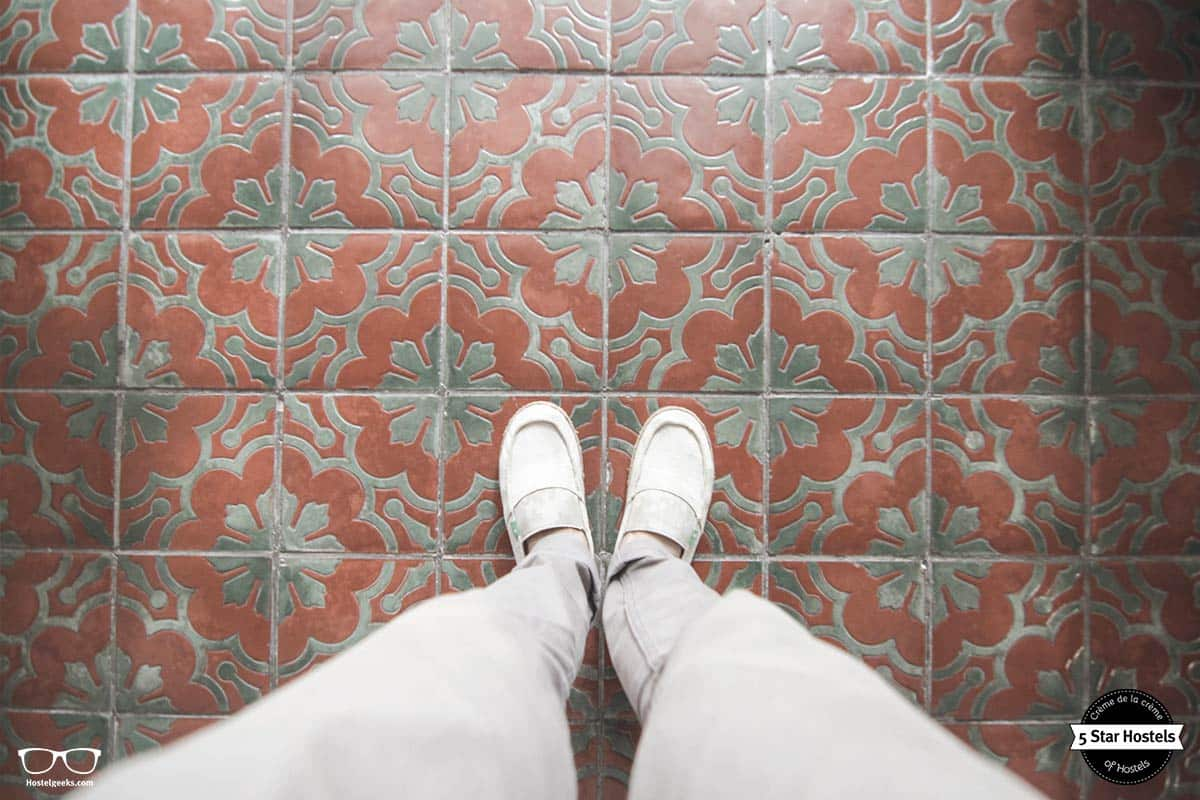 Floor tiles at With Inn Hostel. The hostel is inside a typical taiwanese house