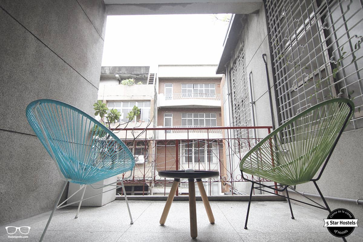 The private balcony at With inn Hostel