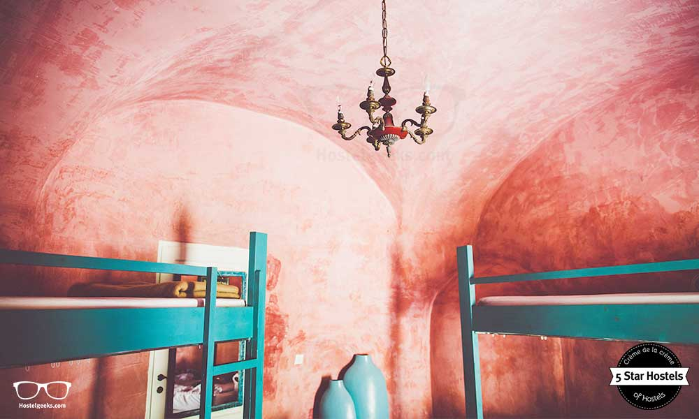 This is the female-only dorm at Caveland Hostel Santorini, Greece