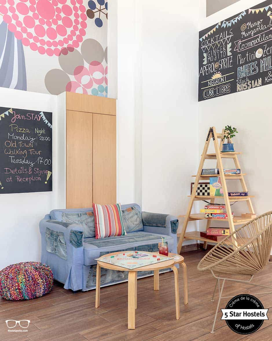 The cosy lounge at STAY Hostel Rhodes