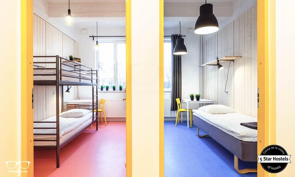 Bunk Bed Twin Room on the left, and a single room on the right - Hektor Design Hostel in Tartu, Estonia
