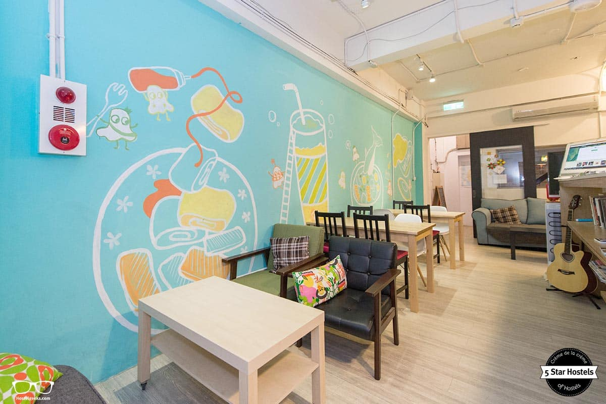 The common area at WOW Tainan Hostel