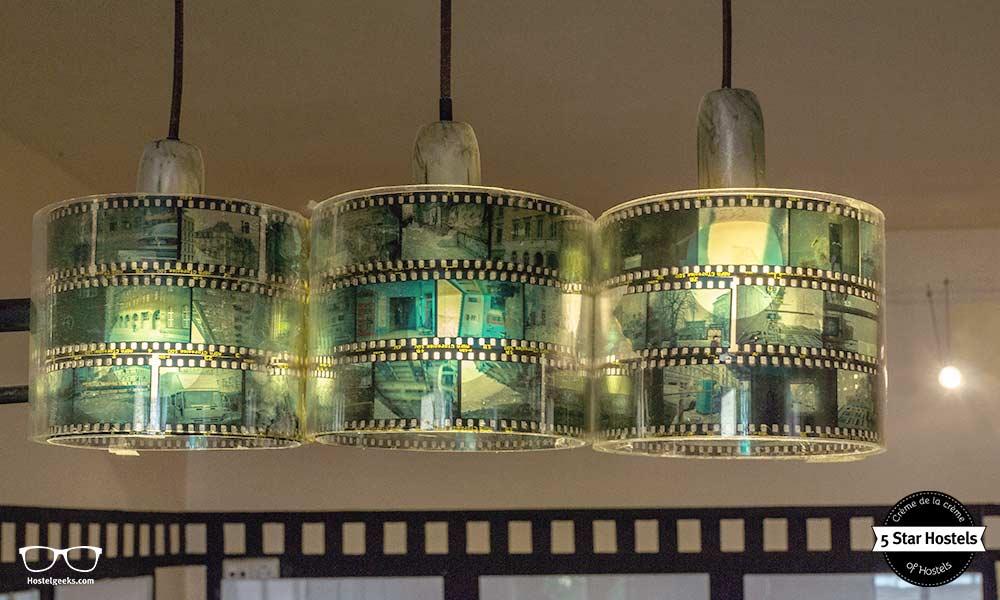 DIY film stripe lamps in the movie room at Lollis Homestay