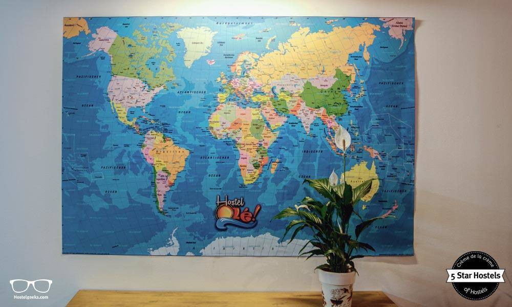 Where next? Vintage map at Hostel Ole Alicante