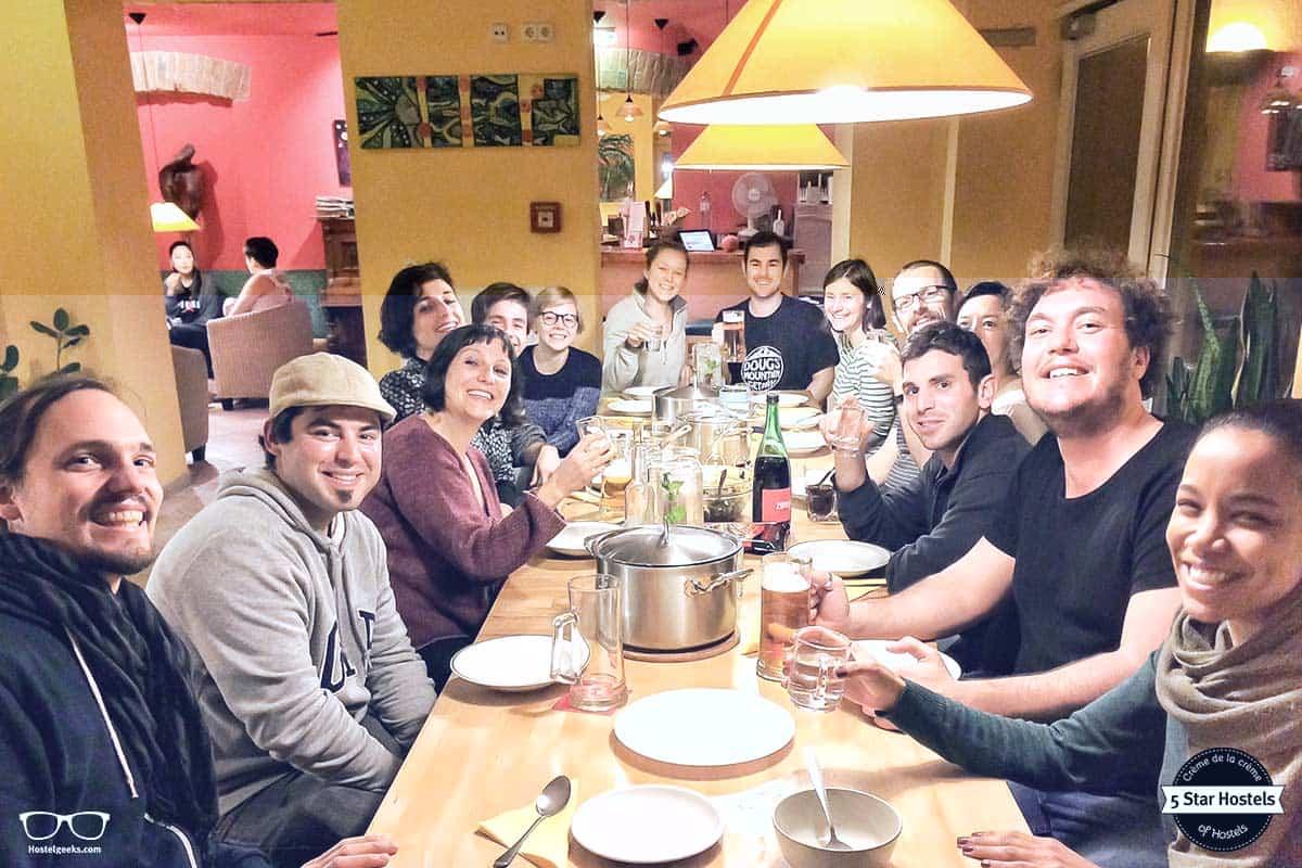 Family dinner at Hostel Ruthensteiner