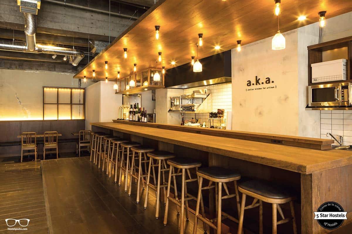 Mingle hotspot! The café in the ground floor at The Share Hotel Hatchi in Kazanawa, Japan