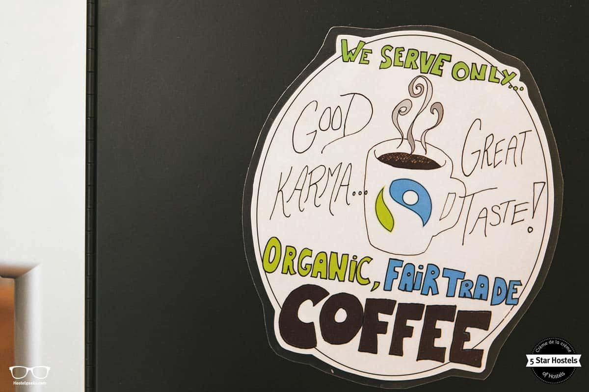 Good karma, good fairtrade coffee for breakfast at Hostel Ruthensteiner