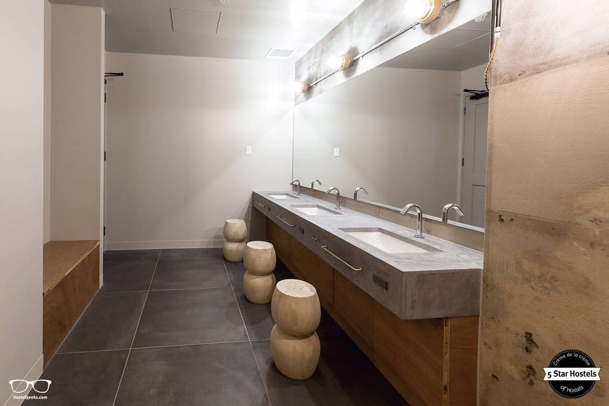 Clean and stylish bathrooms at The Share Hotel Kazanawa
