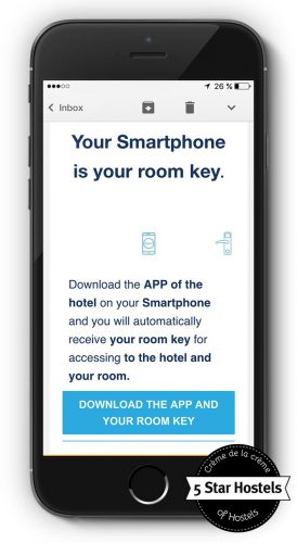 The Hostel Application of Valencia Lounge turns the smartphone into your key