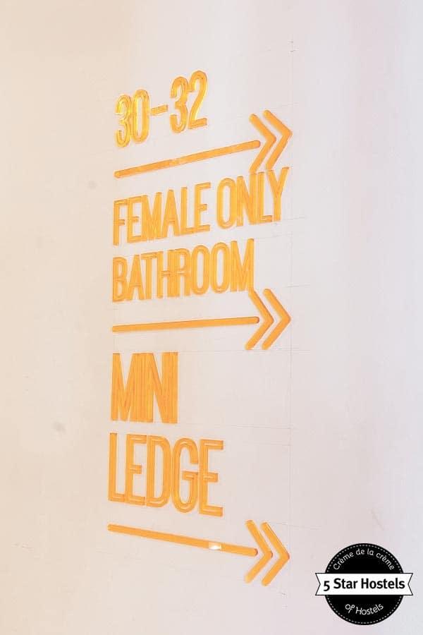 Female only bathroom at spin designer hostel