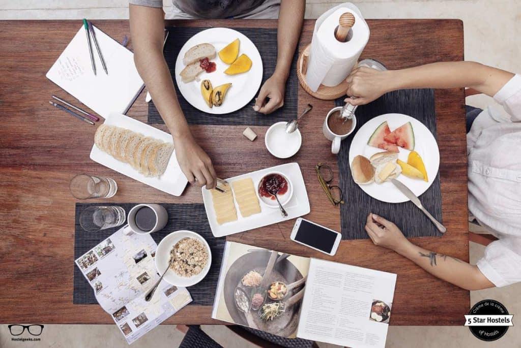 Having breakfast at spin designer hostel